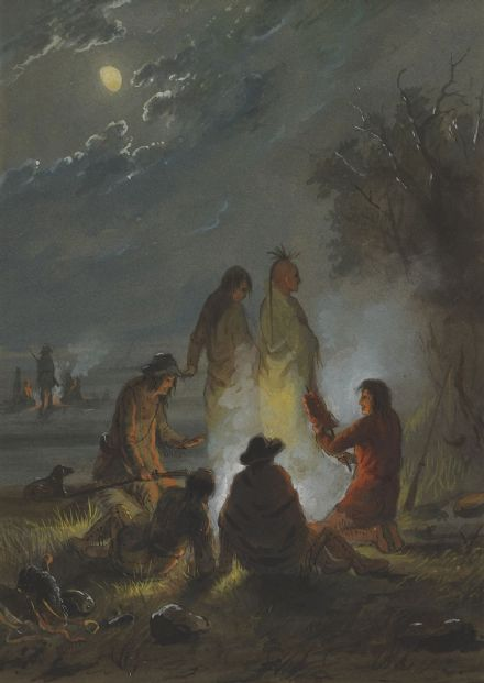 Miller, Alfred Jacob: Camp Fire, Preparing the Evening Meal. Fine Art Print/Poster. Sizes: A4/A3/A2/A1 (003847)